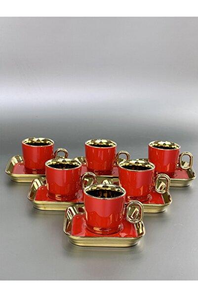 ACAR Porselen Vienno Kırmızı Gold 6 Lı Fincan Takımı