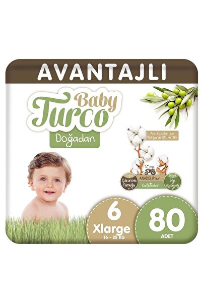 Baby Turco Doğadan Avantajlı Bebek Bezi 6 Numara Xlarge 80 Adet