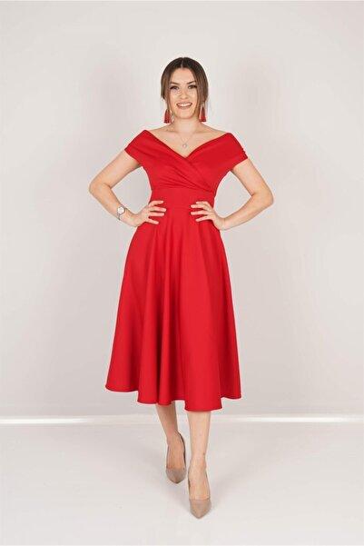 giyimmasalı Kayık Yaka Midi Elbise - Kırmızı