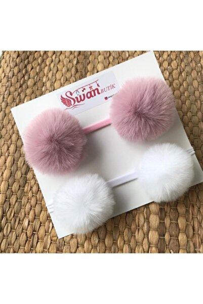 swan butik Kız Bebek Çocuk Beyaz Lila 2'li Peluş Ponpon Bandana Bant