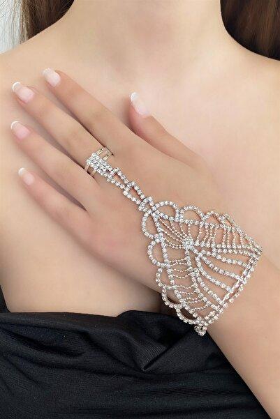 TAKIŞTIR Kadın  Gümüş Renk Taşlı Abiye Şahmeran