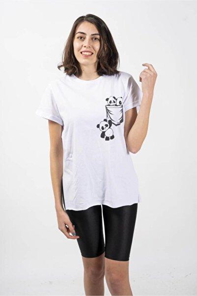 CNS Kadın Beyaz Panda Baskılı T-shirt