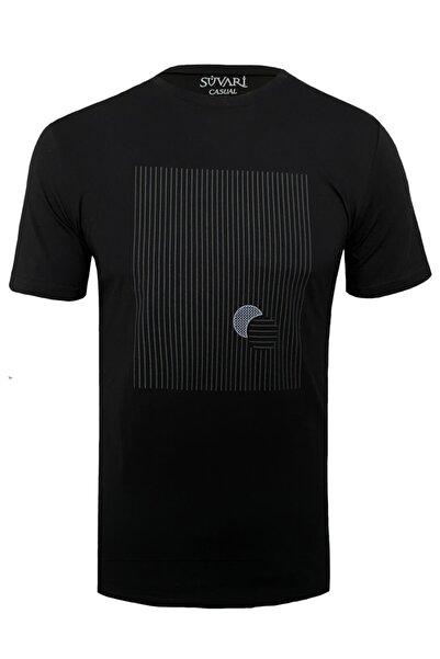 SÜVARİ O Yaka Çizgi Baskılı Slim Fit Siyah Erkek Tişört