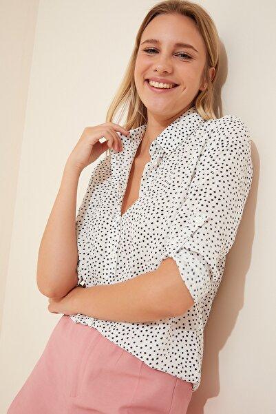 Happiness İst. Kadın Beyaz Desenli Basic  Gömlek BH00326