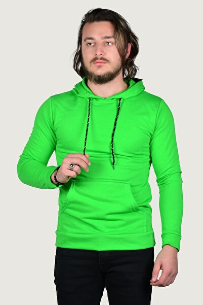 Terapi Men Erkek Kapşonlu Uzun Kollu Sweatshirt 9y-5200178-089-1 Fosfor Yeşili