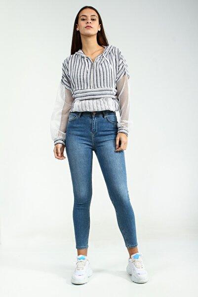 Collezione Açık Mavi Kadın Mavi Spor Hıgh Waıst Skınny Denim Pantolon