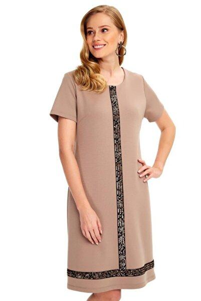 İKİLER Yarım Kollu Önü Ve Eteği Payetli Elbise 020-2500