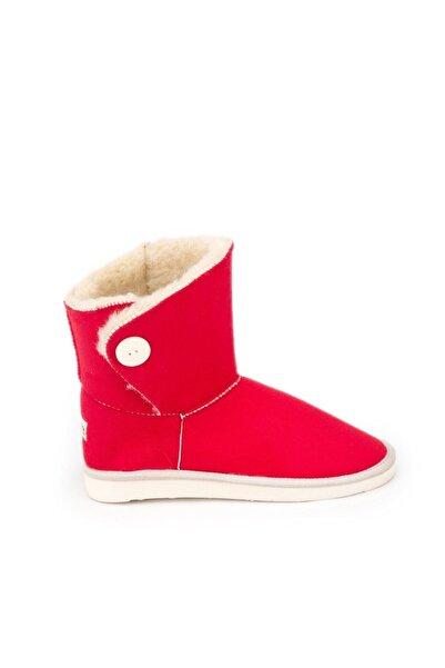 Antarctica Boots Tek Düğme Detaylı Içi Kürklü Eva Taban Süet Kırmızı Bayan Bot