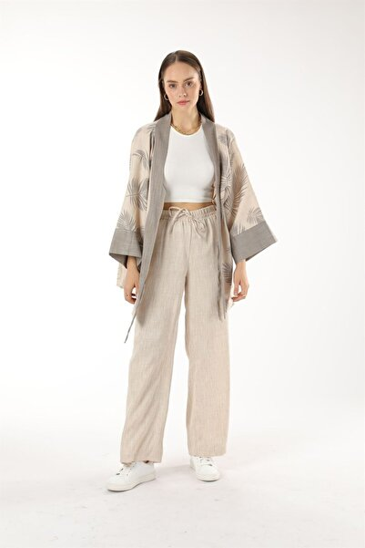 Oblavion Krem Emprime Desenli Kimono Takım