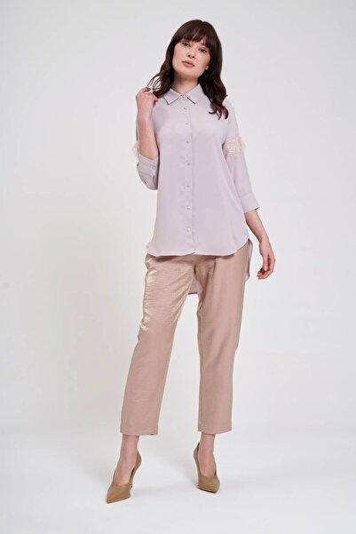 Mizalle Dantel Detaylı Gömlek Bluz (Bej)