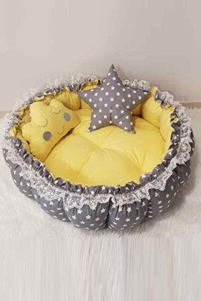 Jaju Baby Gri Ve Sarı Açılır Kapanır Oyun Minderi Bebek Yuvası Babynest