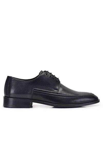 Nevzat Onay Hakiki Deri Siyah Klasik Bağcıklı Kösele Erkek Ayakkabı -11585-