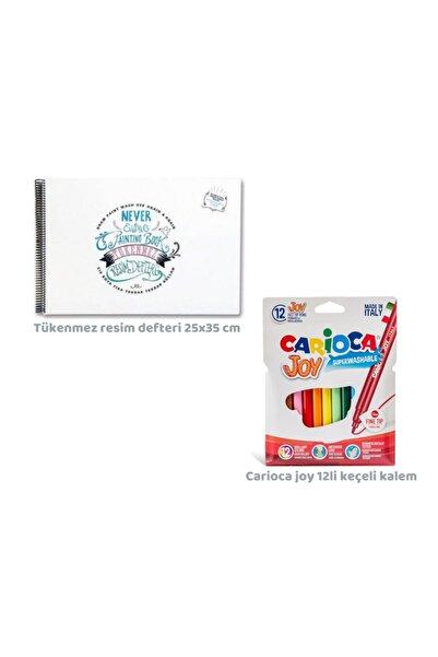 CARIOCA Toospik Akademi Çocuk Tükenmez Resim Defteri&carioca Joy 12li Keçeli Kalem Seti