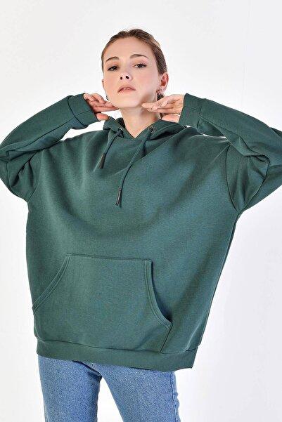 Addax Kadın Koyu Yeşil Kapşonlu Sweat S8641 - S1 - S2 - Z1 ADX-0000020618