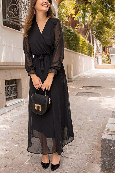 Elbise Delisi Siyah Uzun Kruvaze Yaka Şifon Elbise