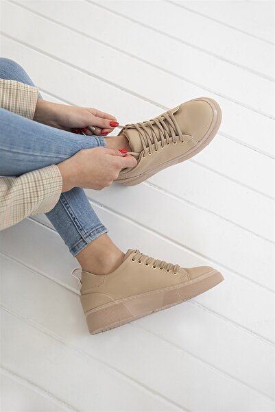 STRASWANS Papel Bayan Deri Spor Ayakkabı Bej
