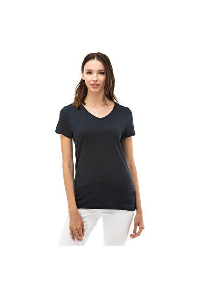 Nautica Nautıca Kadın Lacivert V-yaka T-shirt