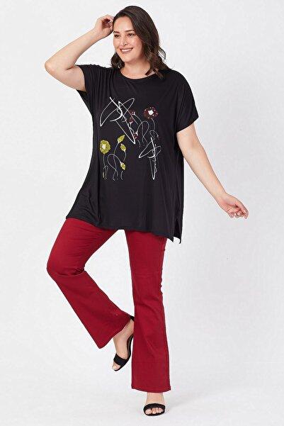 Siyezen Büyük Beden Siyah Salaş Çiçek Baskılı T-shirt