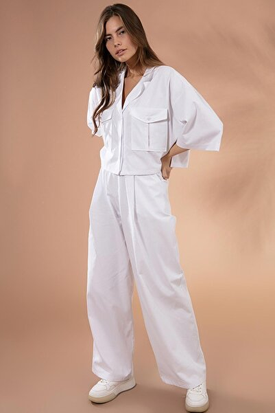 Y-London Kadın Cep Detaylı Ceket Pantolon 2'li Takım Y20w180-6546