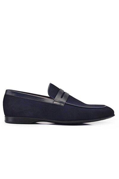 Nevzat Onay Hakiki Deri Lacivert Yazlık Loafer Erkek Ayakkabı -11582-