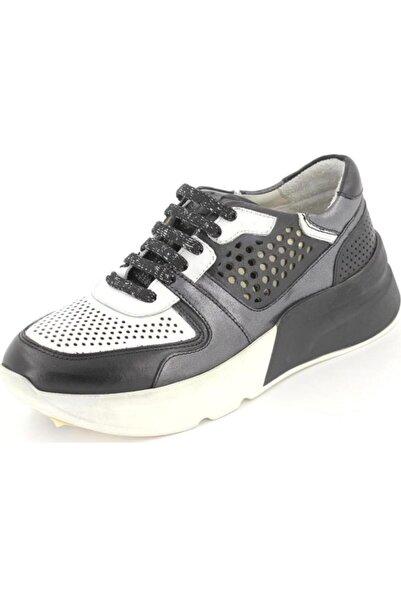 Venüs 1914201y Deri Siyah Kalın Topuk Sneaker Ayakkabı