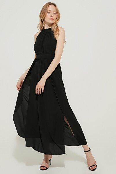 ZİNDİ Kadın Astarlı Yırtmaçlı Elbise Siyah