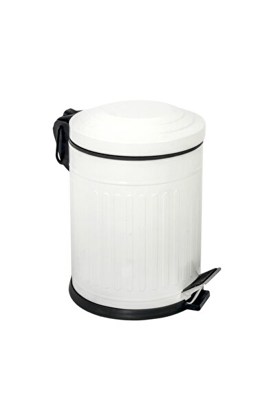 Foreca Vintage Çöp Kovası Çizgili Beyaz 5 Lt