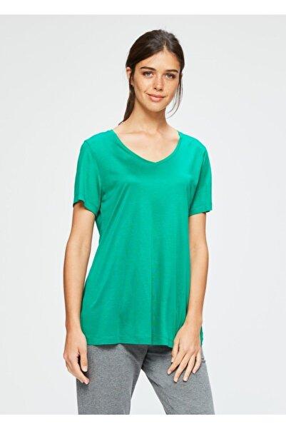 Dagi Yeşil V Yaka Modal Kısa Kol Kadın T-shırt