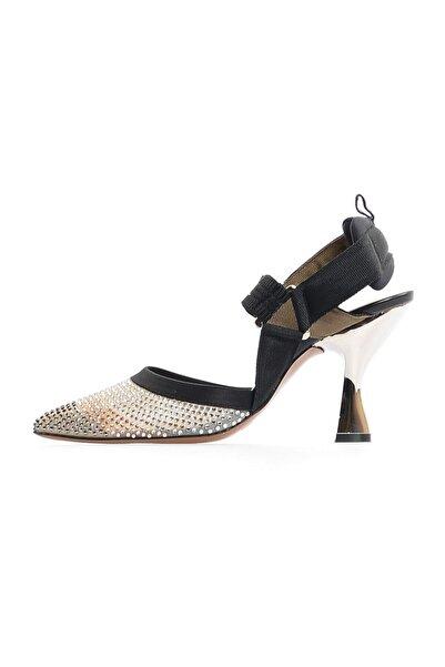 Flower Siyah Kombin Taş Detaylı Topuklu Ayakkabı