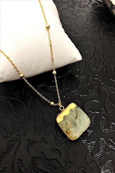 Dr. Stone Dr Stone Golden Zebercet Taşı 22k Altın Kaplama El Yapımı Kadın Kolye Tkrb1