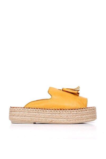 BUENO Shoes Hakiki Deri Kadın Dolgu Topuk Terlik 20wq3511