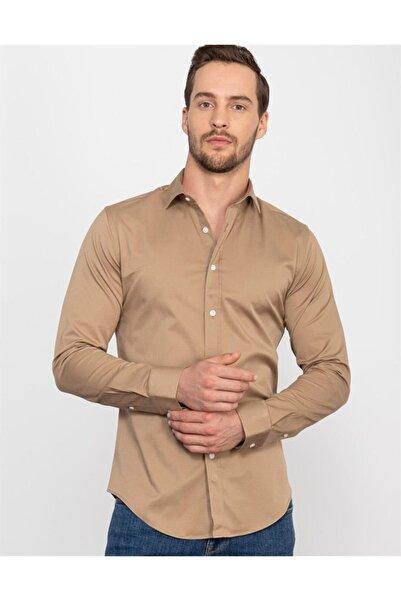 Tudors Slim Fit Likralı Düz Saten Erkek Gömlek