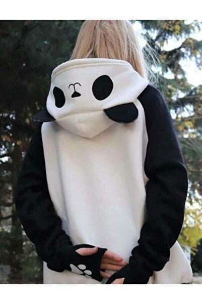 TREND Kadın Beyaz Butik Panda Sweatshirt