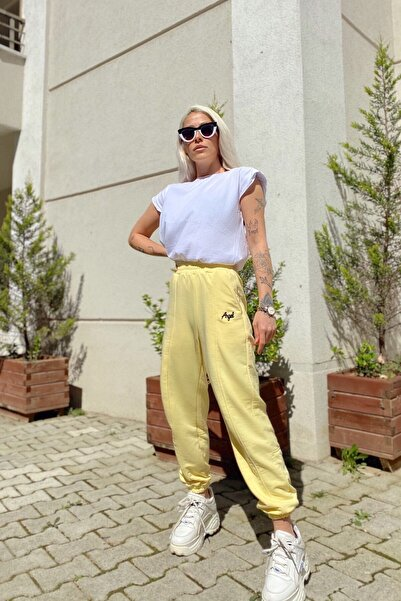 SwistLuxury Angel Nakışlı Yüksek Bel Lastikli Eşofman Sarı
