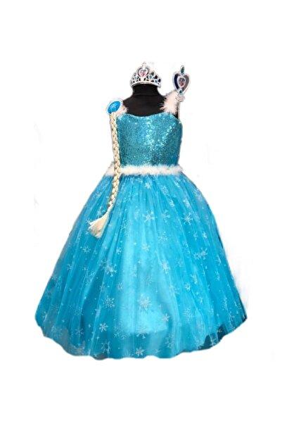 BAL BEBE Elsa Karlar Ülkesi Frozen Kız Çocuk Kostüm Tarlatanlı Gelinlik Elbise Taç Asa Saç