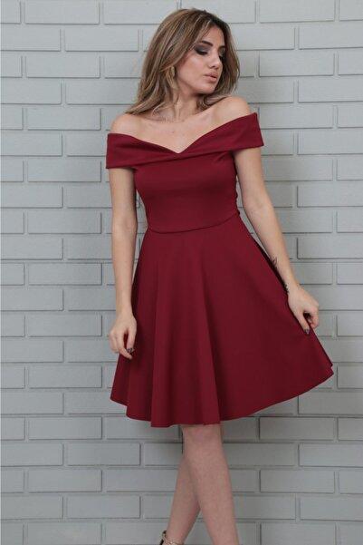 lovebox Esnek Scuba Kumaş Öpücük Yaka Bordo Abiye Elbise