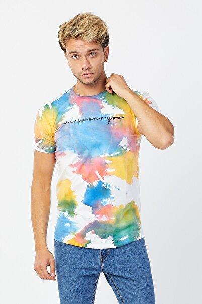 Karpefingo Erkek Boya Baskılı Beyaz T-shirt