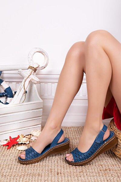 Deripabuc Hakiki Deri Lacivert Kadın Deri Sandalet Dp16-0600