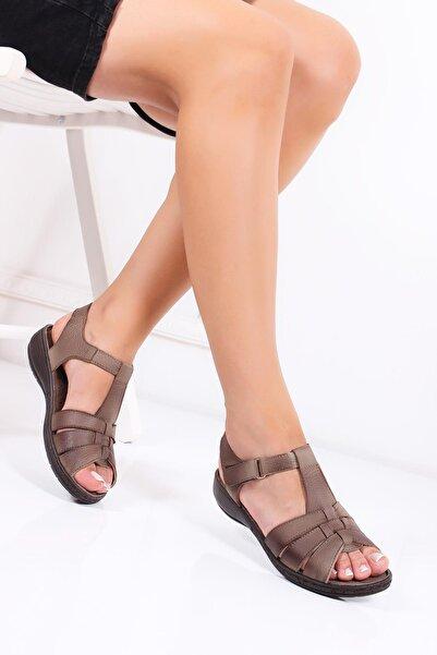 Deripabuc Hakiki Deri Vizon Kadın Deri Sandalet Dc-0151