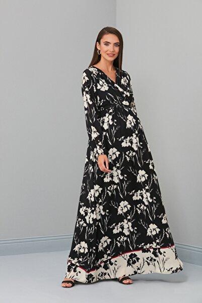 Entarim Hamile Tesettür Elbise Crep 6002