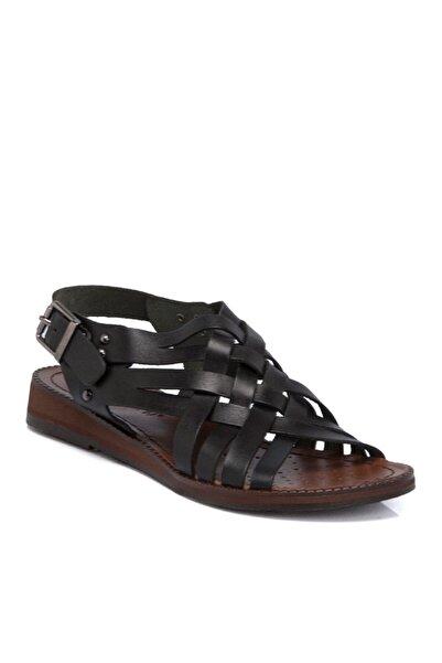 Tergan Siyah Deri Kadın Sandalet N64991a57