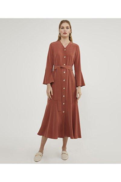 Aker Volanlı Tarçın Elbise V42810119