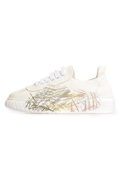 Flower Beyaz Deri Baskılı Kadın Sneakers