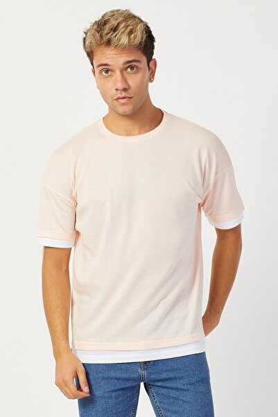 Karpefingo Erkek Enine Fitilli Oversize Pembe T-shirt