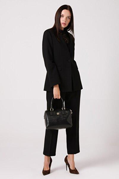 Gusto Yakasız Tek Düğmeli Blazer Ceket - Siyah