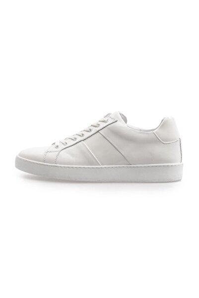 Flower Beyaz Deri Bağcıklı Erkek Sneakers