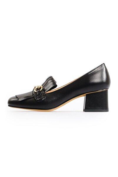 Flower Siyah Tokalı Kadın Ayakkabı