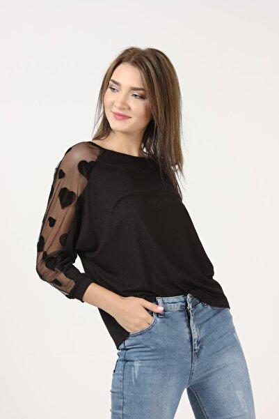 TENA MODA Kadın Siyah Kolları Kalp Tül Detaylı Çilek Bluz