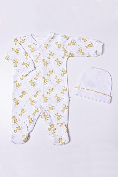 kitikate Unisex Bebek Beyaz Organik Ördek Baskılı 2'li Takım