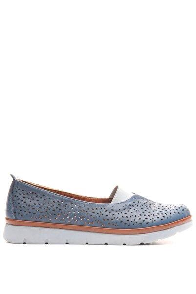 Bulldozer 201203 Mavı Kadın Deri Comfort Ayakkabı